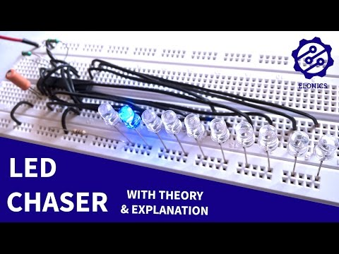 LED Chaser circuit using 555 timer + 4017 IC on Breadboard - Basic Electronics Projects