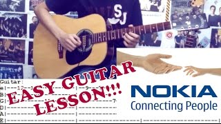 Nokia Tune on Guitar (Easy Guitar Lesson)with Chords and Tab
