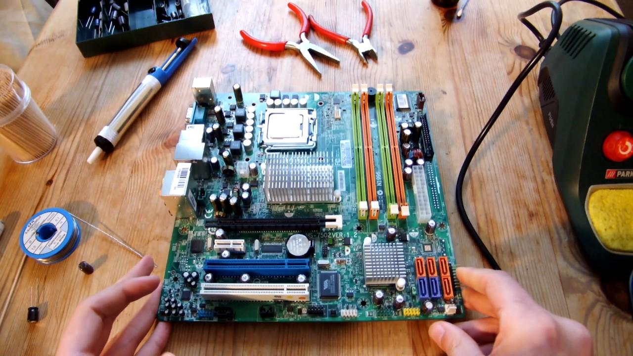 Mainboard reparieren: Defekte Kondensatoren auslöten - YouTube