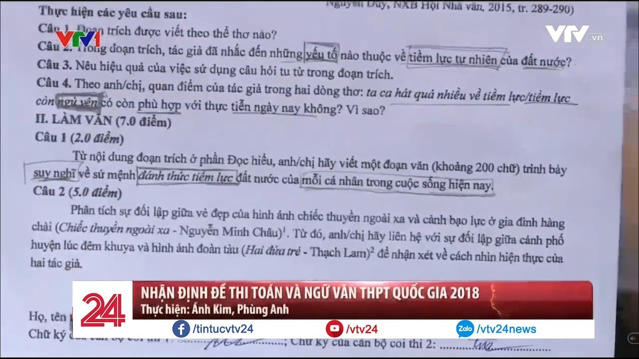 Nhận định về đề thi Toán và Văn THPT quốc gia 2018  – Tin Tức VTV24