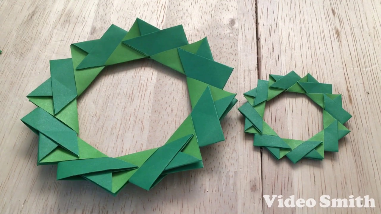折り紙のクリスマスリースの折り方 Youtube