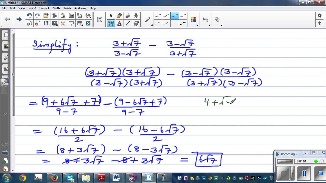 Simplifying fractions in surd form and checking the answer of ...