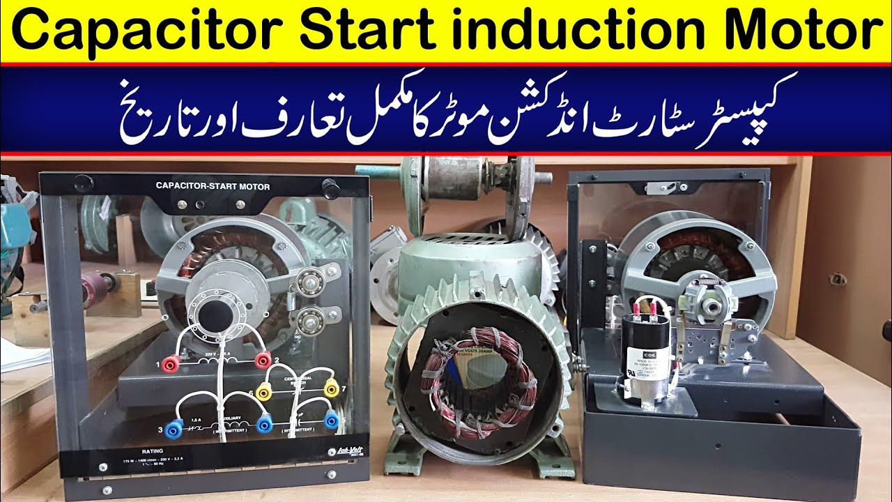Capacitor start induction motor complete introduction and working explained in Urdu/Hindi