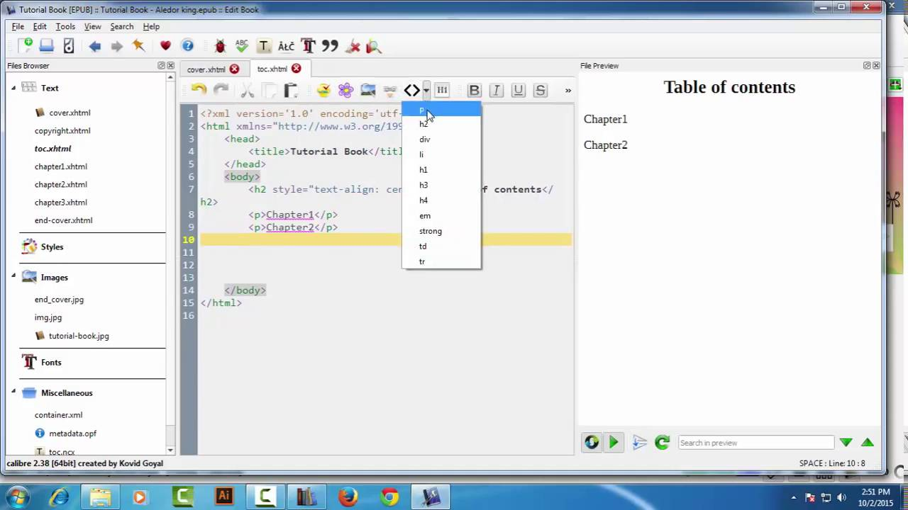 How to add table of contents page in epub || calibre