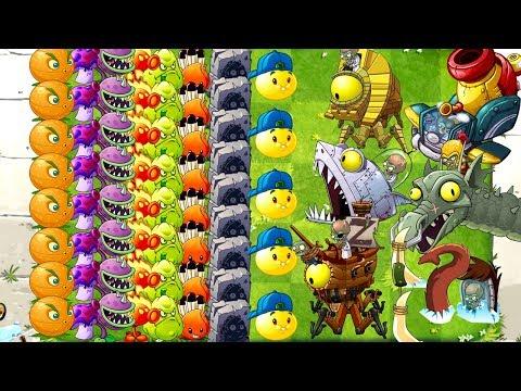 Every Zombot Fight! All Plants Max Level Plants vs Zombies 2 Mod Max Power Up vs All Zomboss