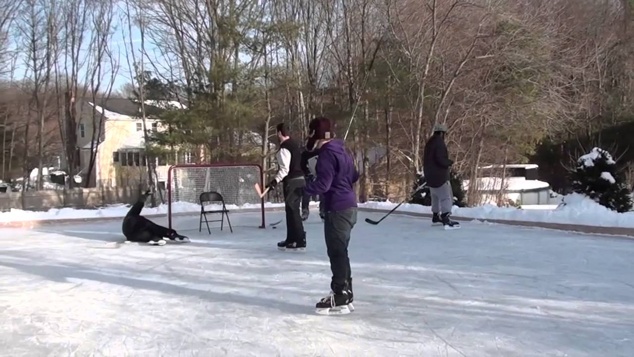 Backyard ice skating rink - YouTube