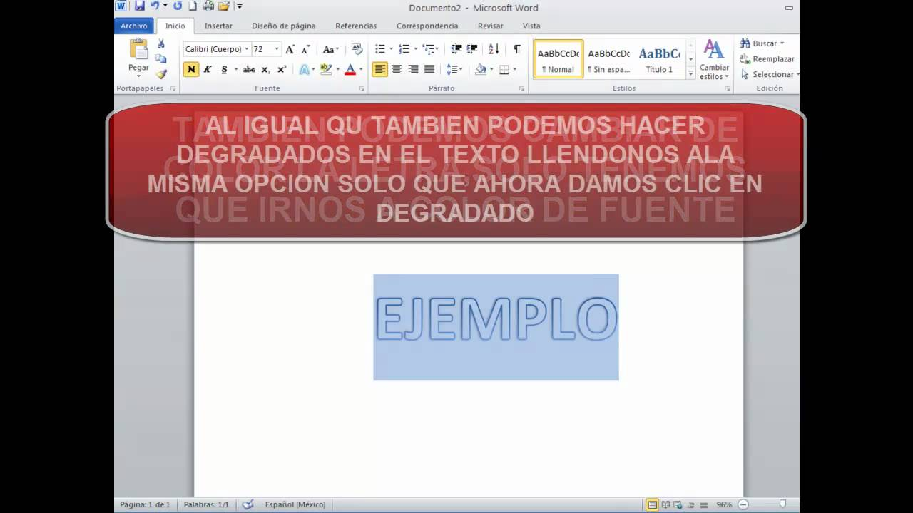 Dar efecto a un texto de word 2010 youtube for En word cual es el interlineado