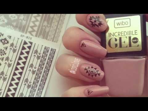 Beige Nails With Tribal Aztec Water Decals BPS Tutorial