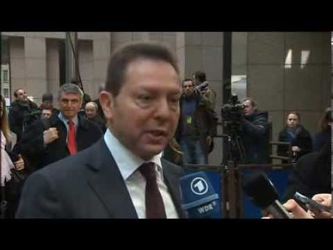 Arrival and doorstep by ECOFIN President Yannis Stournaras