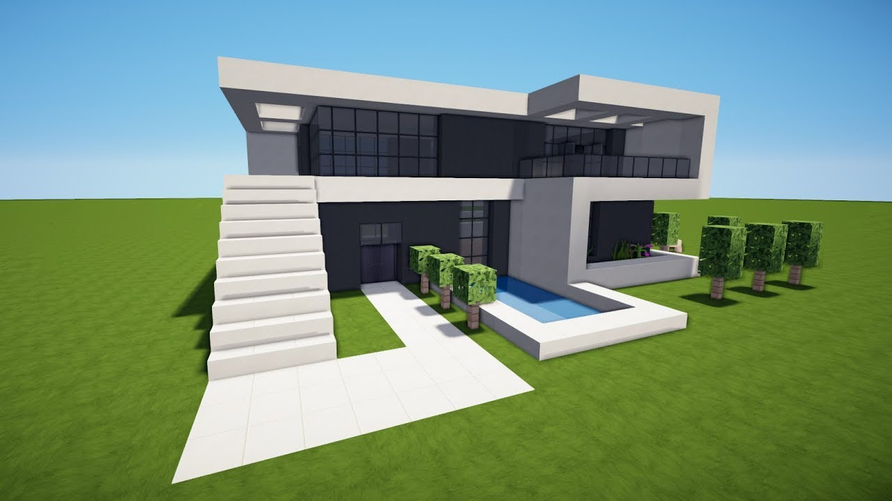 Minecraft Modernes Haus Mit Pool Bauen Tutorial Haus 154 Youtube