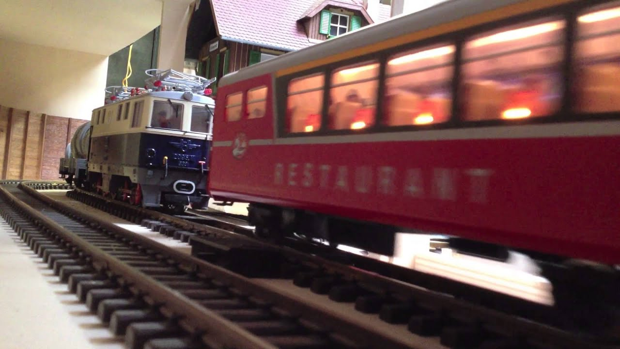 Lgb 28434 Rhb Samedan Sound Passenger Train G Scale Indoor