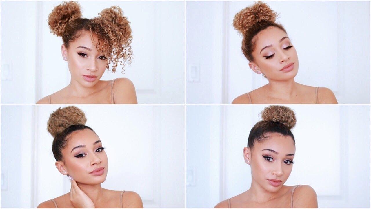 4 Easy Bun Hairstyles For Curly Hair Youtube