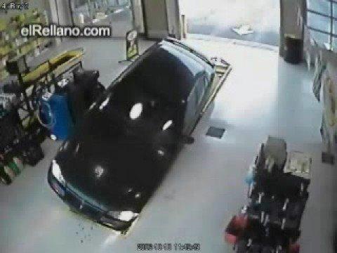 Car Accident, car falls into garage pit