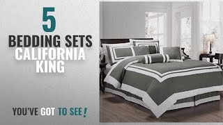 Top 10 Bedding Sets California King [2018]: Chezmoi Collection 7 Pieces Caprice Gray/White Square