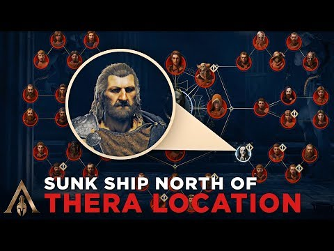 How to Find the Sunk Ship on ruin North of Thera (Cultist Clue Location) - Assassin's Creed Odyssey