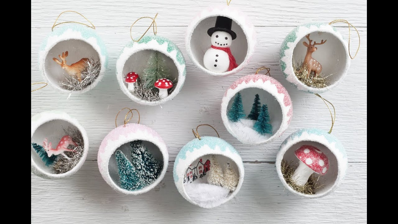 Make Retro Christmas Diorama Ornaments Filled With Miniatures!