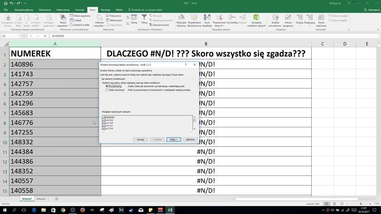 EXCEL – #N/D! Formuła Nie Działa Nie Czyta Danych z Pola | ForumWiedzy.pl