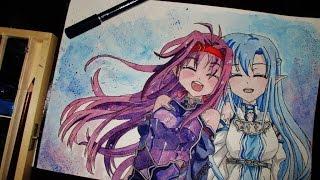 Speed Drawing ( WaterColor ) SAO - Asuna & Yuuki #1