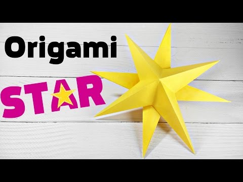 Origami double star 3d christmas diy decoration easy tutorial  for christmas tree, for kids