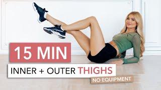 15 MIN THIGH WORKOUT - focus on inner thighs, tone & tighten / No Equipment I Pamela Reif