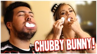 SHOVE IT IN MY MOUTH...!!! CHUBBY BUNNY CHALLENGE | 25 Days Ov Christmas #5 (BF VS GF)