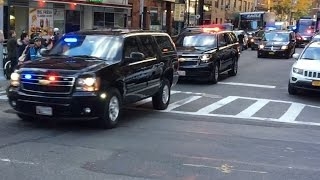 President Elect Donald Trump Motorcade Being Escorted By NYPD & The United States Secret Service