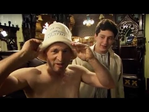 Jonathan Dimbleby in the Baths - Russia - BBC