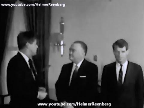 February 23, 1961 - President John F. Kennedy meets J. Edgar Hoover and Robert F. Kennedy