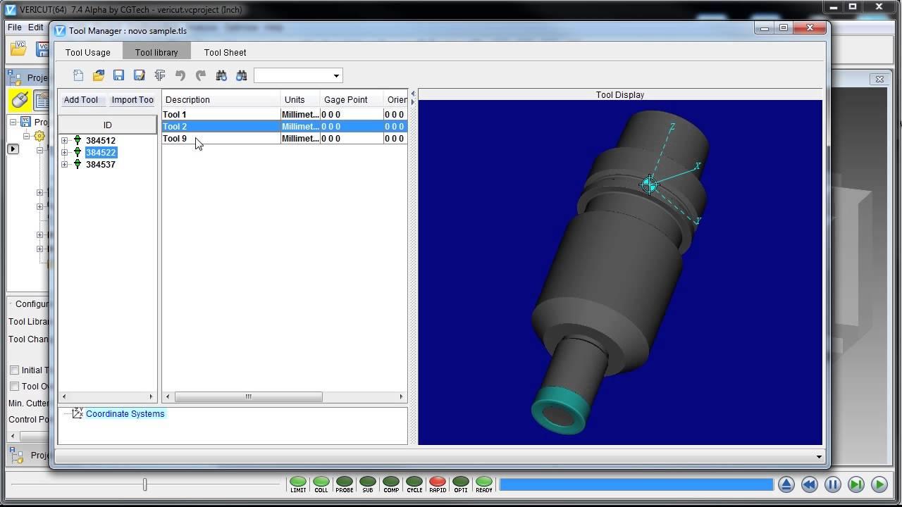 Import 3D Kennametal tools into VERICUT CNC simulation software with NOVO
