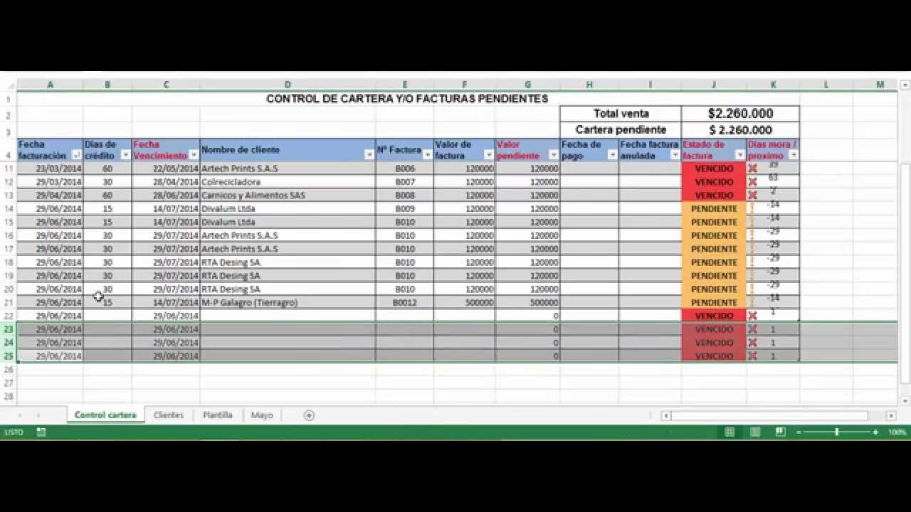 Aplicacion cartera excel cartera vencida o facturas por cobrar - YouTube