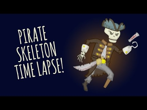 OOF INK // Pirate Skeleton Time Lapse Illustration