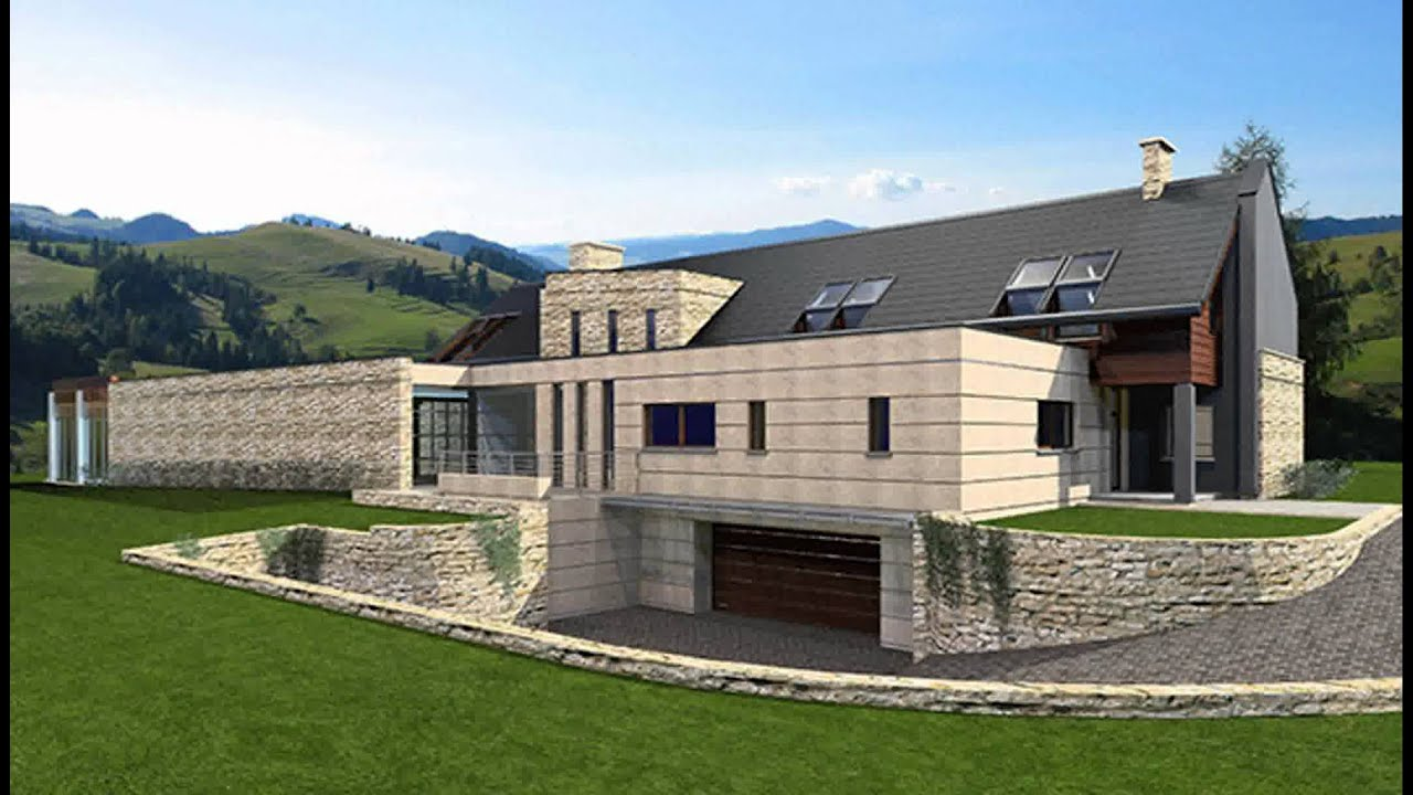 3d model of modern country house youtube for Modern country house