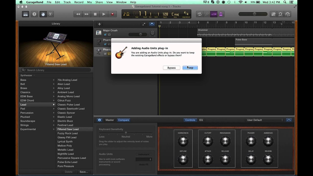 How to get back your effects in Garageband 10