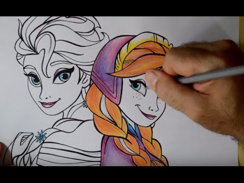 Desenhando Elsa E Anna Do Frozen Speed Drawing Youtube