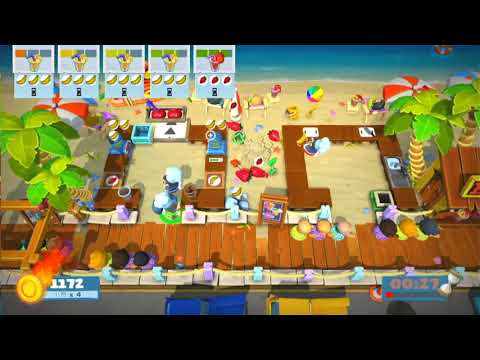Overcooked 2 surf 'n' turf 1-1, 3-player four star! |