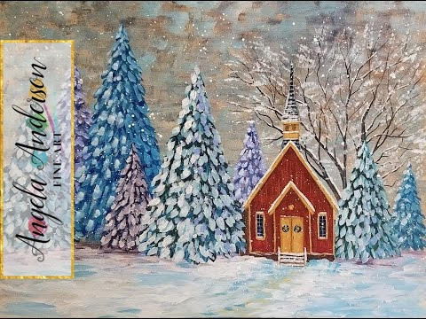 Snowy Winter Landscape Acrylic Painting Tutorial Chapel in a Pine Tree Forest  LIVE