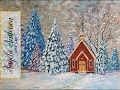 Snowy Church Landscape Winter Pine Tree Forest Acrylic Painting Tutorial LIVE