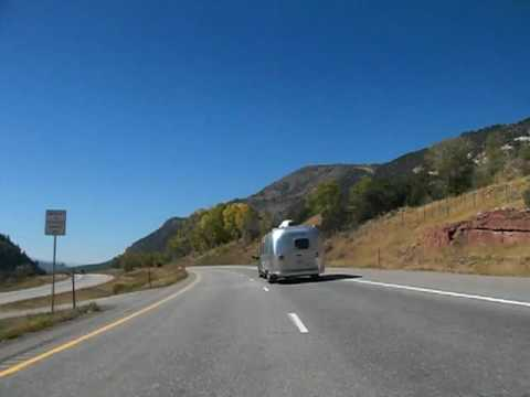 Passing an Airstream trailer while westbound on Interstate 70, Colorado