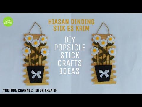 (16) Ide Kreatif Hiasan Dinding Stik Es Krim Bunga Flanel  | Diy Popsicle Stick crafts ideas