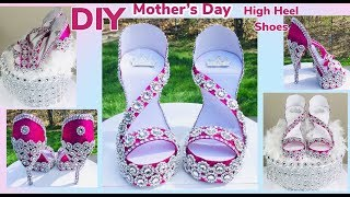 Dollar Tree DIY Glam Mother's Day High Heels Shoes Centerpiece 2019