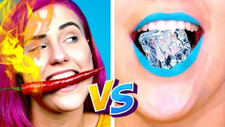 HOT vs COLD CHALLENGE! Girl on Fire vs ICY Girl || Funny Situations & Pranks by Crafty Panda