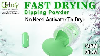 Cute Green Color Nails arts by Fast Drying Dip Powder Nail System