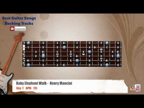 Baby Elephant Walk - Henry Mancini Guitar Backing Track with scale