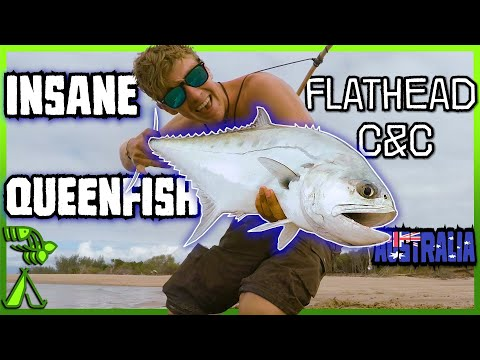 Insane Queenfish! Flathead Catch And Cook.