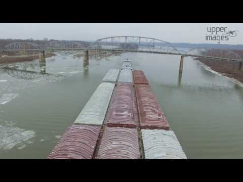 Barges Passing the Henry Bridge