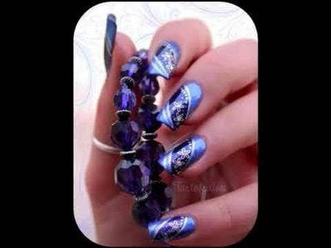 Nail Art Design Blue Silver Youtube