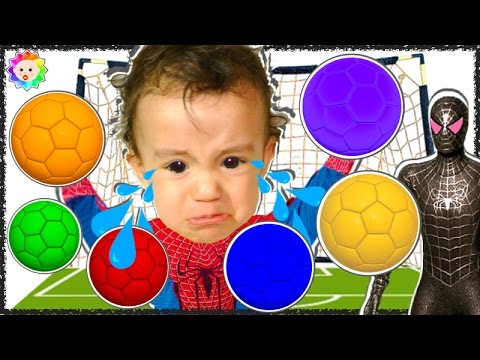 Thumbnail: BABY CRYING Spiderman Learn colors w Soccer Balls rainbow vs Bad Spiderman BABY Finger Family song#6