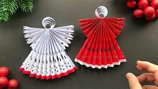Weihnachten basteln mit Papier: Weihnachtsengel als Weihnachtsdeko selber machen - DIY Bastelideen
