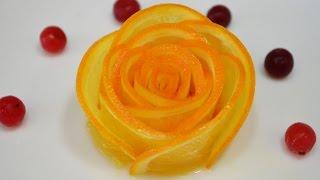 как сделать розочку из апельсина для торта