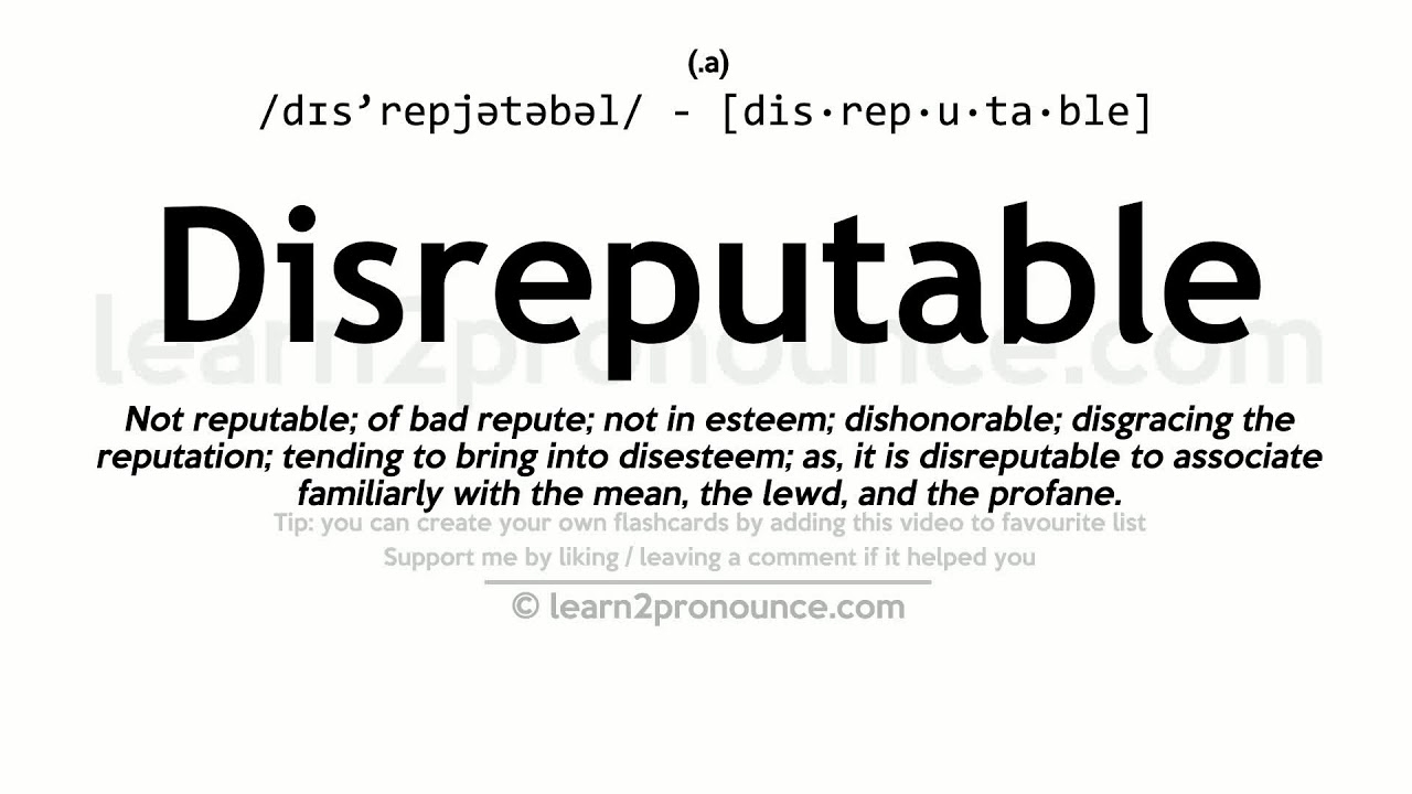 Attractive Disreputable Pronunciation And Definition